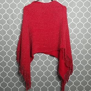 BOUTIQUE Red Knit Poncho